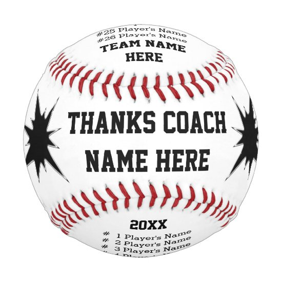 Personalized Baseballs with Coach, Player's NAMES