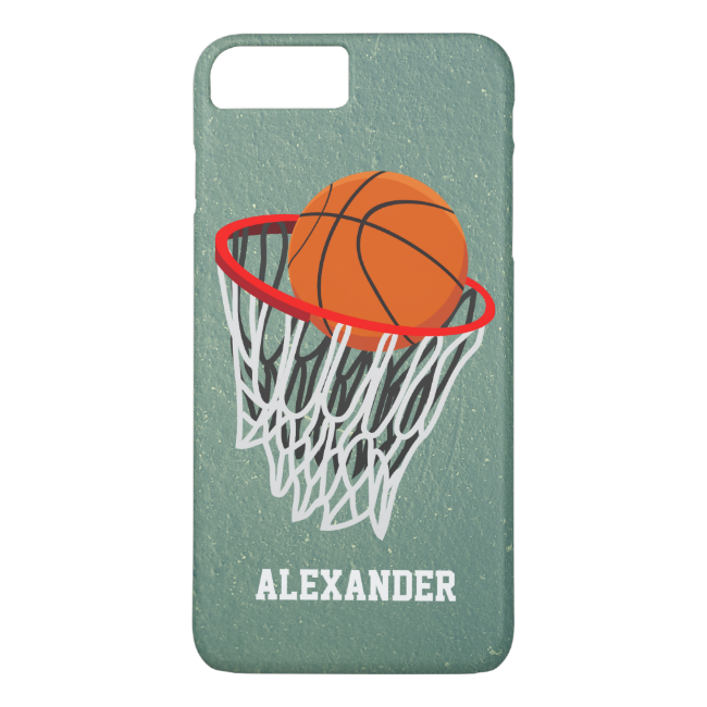 Personalized Basketball and Hoop iPhone 7 Plus Case