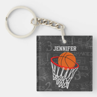 Personalized Basketball and hoop Acrylic Keychains