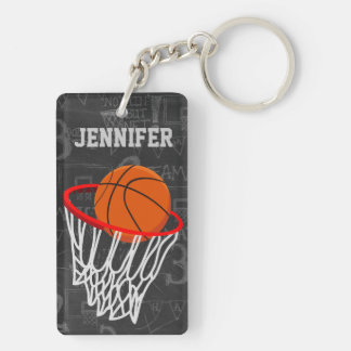 Personalized Basketball and hoop Acrylic Key Chain