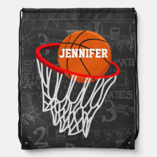 Personalized Basketball and Hoop Drawstring Bag