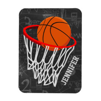 Personalized Basketball and Hoop Rectangle Magnets
