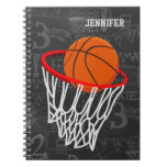 Personalized Basketball and Hoop Spiral Notebook