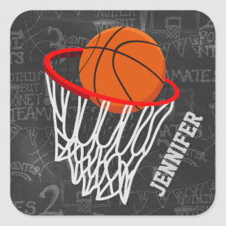 Personalized Basketball and Hoop Square Stickers
