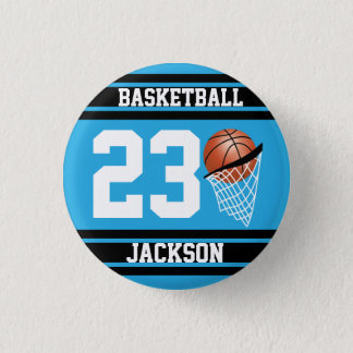 Personalized Basketball Baby Blue and Black Button