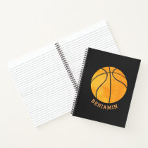 Personalized Basketball Black Orange Kids Sports Notebook