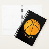 Personalized Basketball Black Orange Kids Sports Planner
