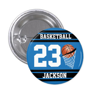 Personalized Basketball Blue and Black Pinback Button