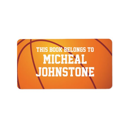 Personalized Basketball Book Plate Label