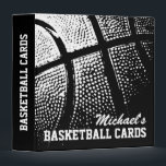 """Personalized basketball card binder for collector<br><div class=""""desc"""">Personalized basketball card binder for collectors (no sleeves). Customizable name on front and custom background color. Organize your sports player card collection. Cute gift idea for boys. Black and white photo.</div>"""