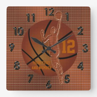 Personalized Basketball Clocks w/ NAME and NUMBER