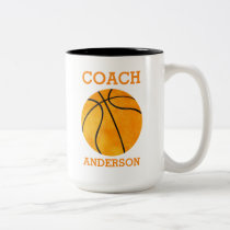 Personalized Basketball Coach Orange Retro Two-Tone Coffee Mug