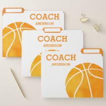 Personalized Basketball Coach Orange Watercolor File Folder