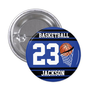 Personalized Basketball Dark Blue and Black 1 Inch Round Button