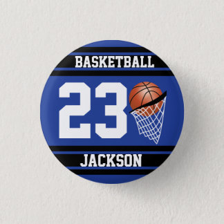 Personalized Basketball Dark Blue and Black Pinback Button