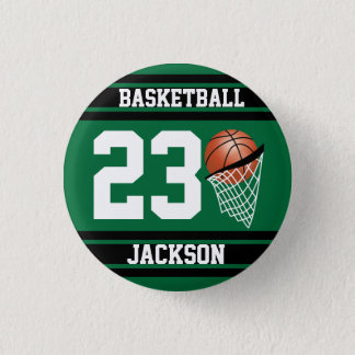 Personalized Basketball Dark Green and Black Button