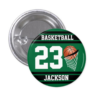 Personalized Basketball Dark Green and Black 1 Inch Round Button