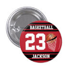 Personalized Basketball Dark Red and Black Button
