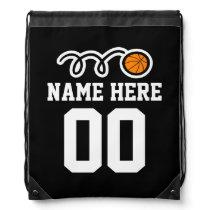 Personalized basketball drawstring backpack bag