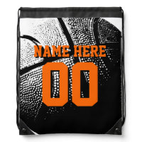 Personalized basketball drawstring backpack bag