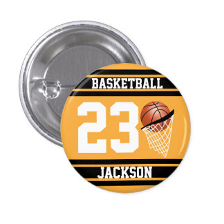 Personalized Basketball Gold and Black 1 Inch Round Button