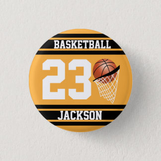 Personalized Basketball Gold and Black Button