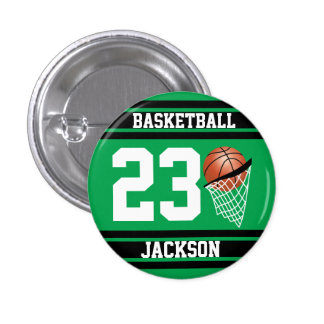 Personalized Basketball Green and Black 1 Inch Round Button
