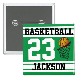 Personalized Basketball Green and White Pinback Button