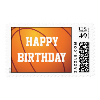 Personalized Basketball Happy Birthday Stamps