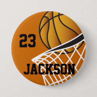 Personalized Basketball Hoop Design Pinback Button