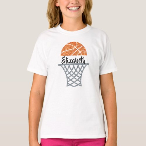 Personalized Basketball Hoop Glitter Shirt