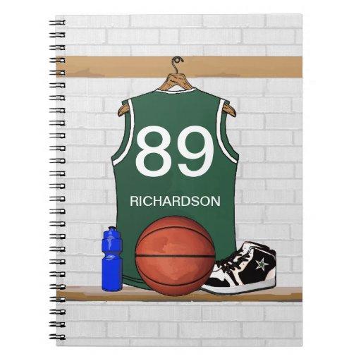 Personalized Basketball Jersey (green) Journal Notebooks