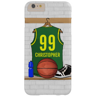 Personalized Basketball Jersey Green | Yellow Barely There iPhone 6 Plus Case