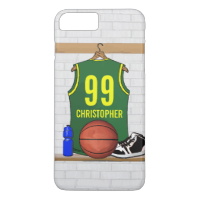 Personalized Basketball Jersey Green | Yellow iPhone 7 Plus Case
