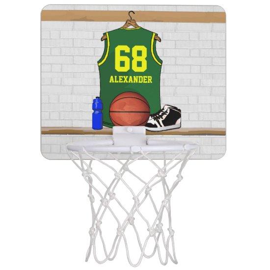 Personalized Basketball Jersey Green | Yellow Mini Basketball Backboard