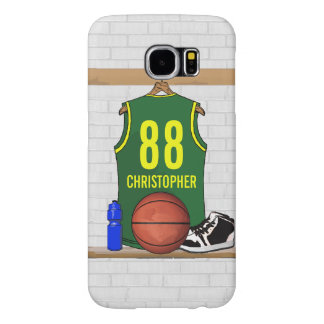 Personalized Basketball Jersey Green Yellow Samsung Galaxy S6 Case