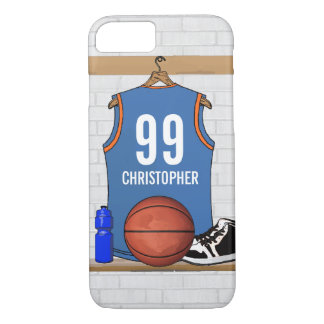 Personalized Basketball Jersey Light Blue | Orange iPhone 7 Case