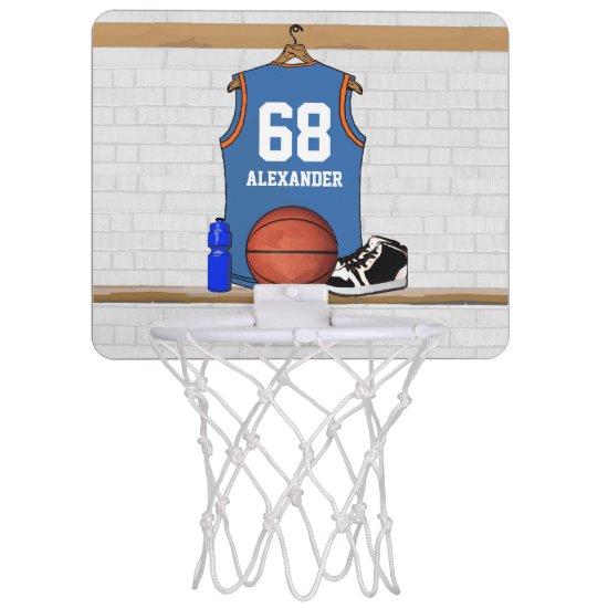 Personalized Basketball Jersey Light Blue | Orange Mini Basketball Hoop