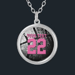 """Personalized basketball jersey number necklace<br><div class=""""desc"""">Custom basketball necklace with jersey number. Personalized jewelry for basketball coach, player and fan. Personalizable with team name, quote, slogan, monogram and jersey number. Cute sports birthday gift idea for basketball girls. Make one for female coach, teammates, mom, wife, teen sister, sporty girlfriend etc. Girly neon pink font color with...</div>"""