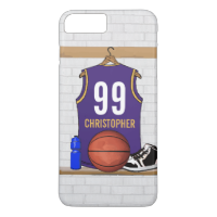 Personalized Basketball Jersey Purple | Gold iPhone 7 Plus Case
