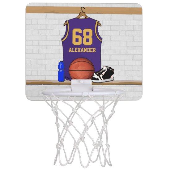 Personalized Basketball Jersey Purple | Gold Mini Basketball Hoop
