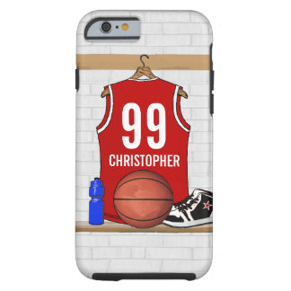 Personalized Basketball Jersey (red) Tough iPhone 6 Case