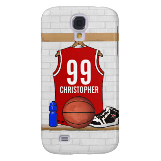 Personalized Basketball Jersey (red) Samsung Galaxy S4 Cover