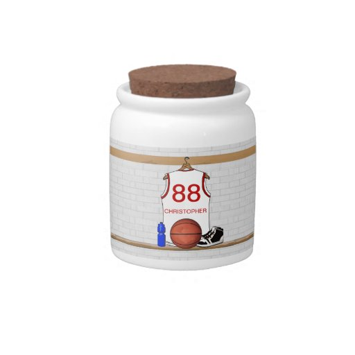 Personalized Basketball Jersey (white red) Candy Jar