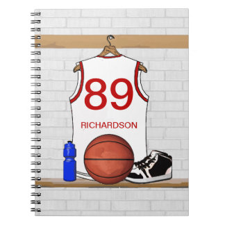 Personalized Basketball Jersey white red Notebook