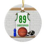 Personalized Basketball Jersey (whitegreen) Christmas Tree Ornament