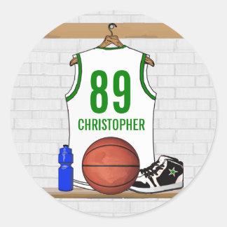 Personalized Basketball Jersey whitegreen Round Stickers