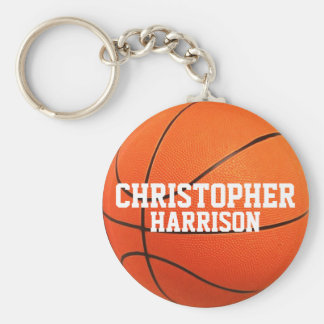 Personalized Basketball Keychain Basic Round Button Keychain