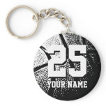 Personalized basketball keychain | name and number<br><div class='desc'>Personalized basketball keychain | name and number. Lucky Number 25 basketball keychains. Personalizable name and jersey number. Cool sports gift idea for basketball players and fans. Cute present for kids little league team boys and girls. Black and white photo.</div>