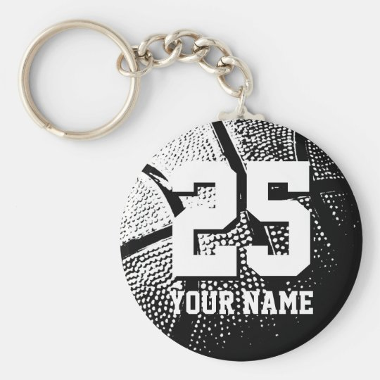 Personalized basketball keychain | name and number | Zazzle